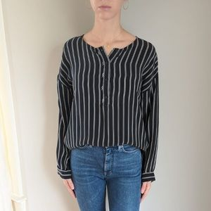 Striped washed black cupro blouse